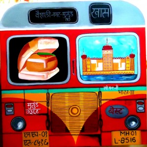 MUMBAI MEALS, TEN TO TEN THOUSAND_36x36_acrylic on canvas_80,000 INR