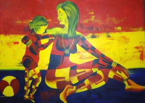 Relatively Yours I love u MAA 36X48 acrylic on canvas 50,000 INR