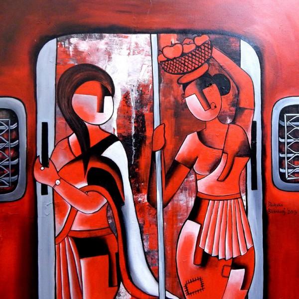 STATUS-FREE MUMBAI LOCALS_36X36_acrylic on canvas_80,000 INR