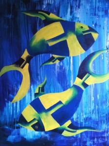 Zodiac PISCES 30x40 Acrylic on canvas 35,000 INR